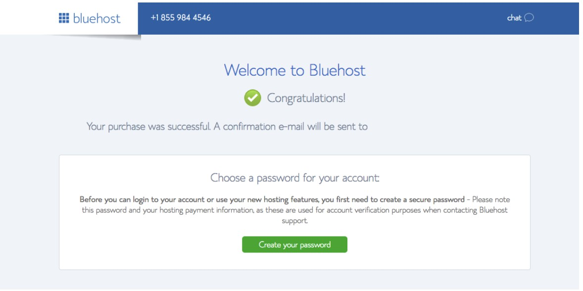Welcome to BlueHost screen